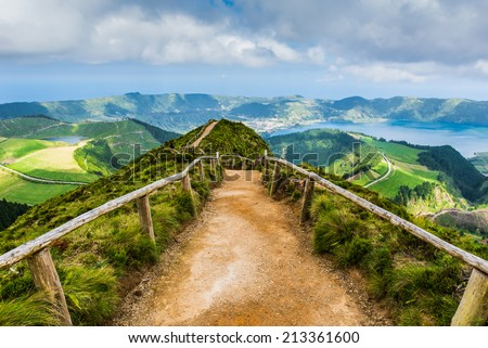 Walking path leading to a view on the lakes of Sete Cidades, Azores, Portugal - stock photo