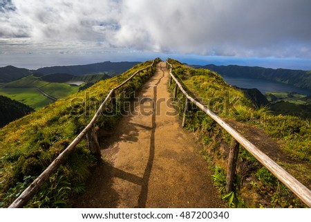 Walking Path Leading to a View on The Seven Cities Lake in Sao Miguel Island, Azores, Portugal