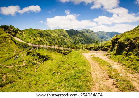 Walking path near the lakes of Sete Cidades on the island of Sao Miguel, Azores, Portugal, Europe - stock photo