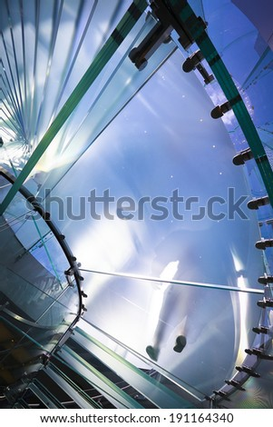 walking people at modern Glass Staircase Silhouette - stock photo