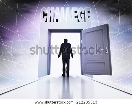 walking person to accept challege behind magic doorway background illustration