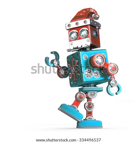 Walking robot santa. Isolated over white. Contains clipping path