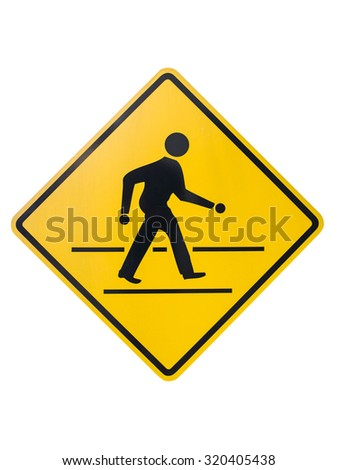 Walking sign in the yellow plate isolated on white background. - stock photo