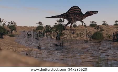 walking spinosaurus  - stock photo