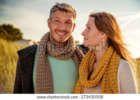 walking sunny day in colder season - stock photo
