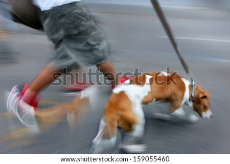 walking the dog on the street in motion blur - stock photo