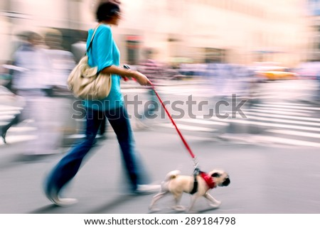 walking the dog on the street in motion blur  using filter - stock photo