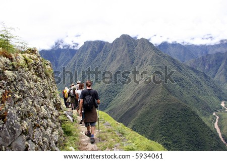 walking the inca trail through the sacred valley - stock photo