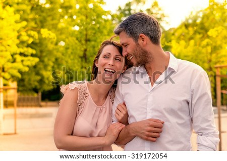 walking the streets in spring summer - stock photo