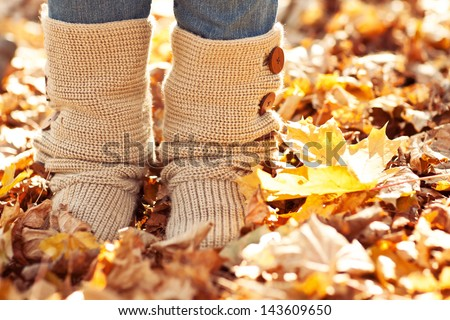 Walking through the autumn leaves, closeup - stock photo