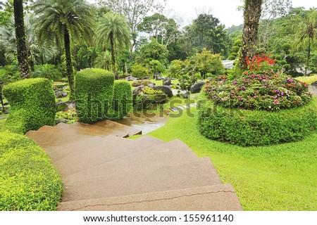 Walking through the garden. - stock photo