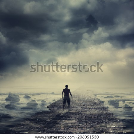 Walking to the light - stock photo