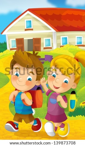 Walking to the school - education - illustration for the children