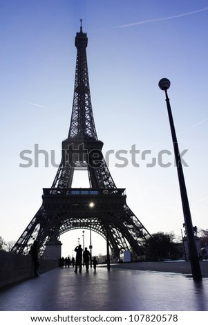walking to tour eiffel landmark - stock photo