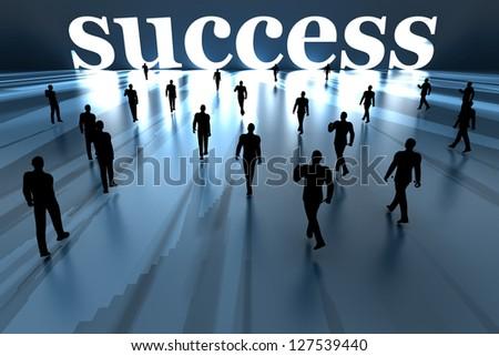 Walking towards success. 3D rendered Illustration. - stock photo