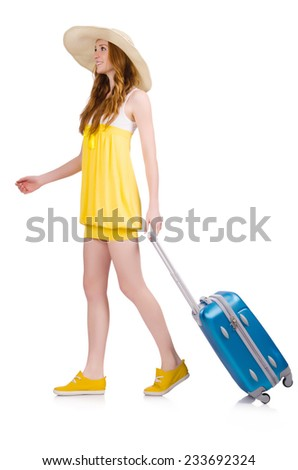 Walking young girl with travel case isolated on white - stock photo