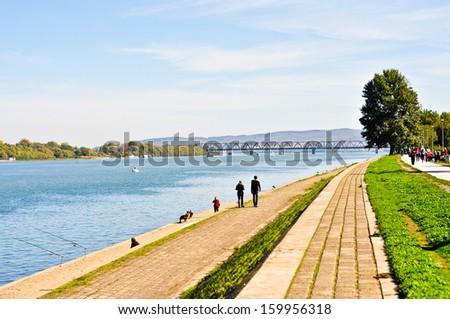 Walking zone along the riverside of Danube at 25. Maj, Belgrade - stock photo