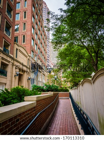 Walkway and apartment buildings in Boston, Massachusetts.