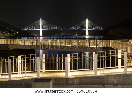 Walkway and bridge in Nagasaki gulf at night