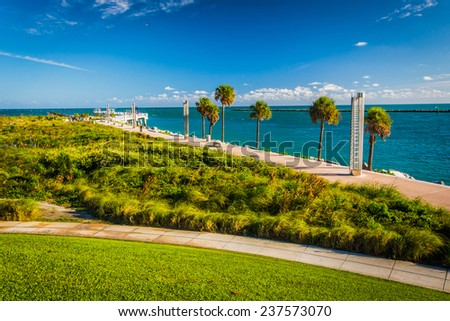 Walkway and view of the Atlantic Ocean at South Pointe Park in Miami Beach, Florida. - stock photo
