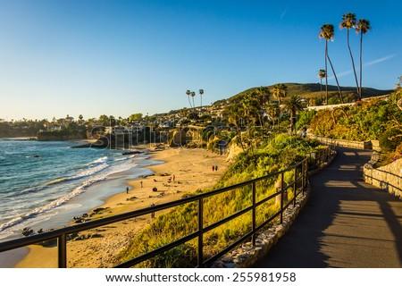 Walkway and view of the Pacific Ocean at Heisler Park, in Laguna Beach, California. - stock photo
