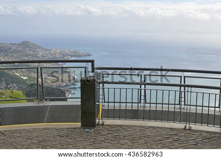 Walkway and viewpoint on Cabo Girao in Madeira, Portugal. (One of the highest cliffs in the world)