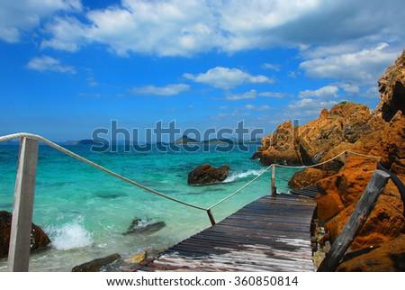 walkway beside the sea, sight seeing, Koh Kham, Cholburi, Thiland - stock photo