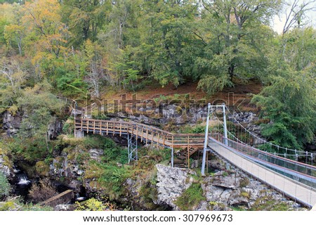 Walkway Bridge at Rogie Falls - Scotland
