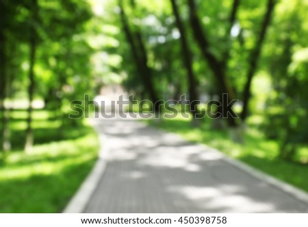Walkway in park, blurred background - stock photo