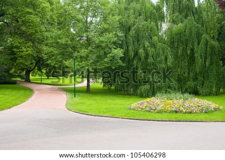 Walkway in Park Pepiner in Nancy, France; GPS information is in the file - stock photo