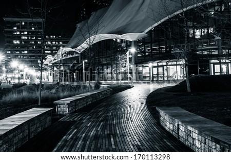 Walkway in the Inner Harbor at night, Baltimore, Maryland. - stock photo