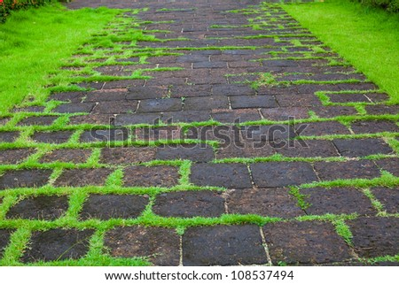 walkway in the park - stock photo