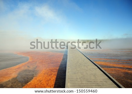 Walkway into the Mist in Yellowstone national park