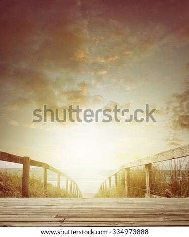 Walkway leading to the beach  - stock photo
