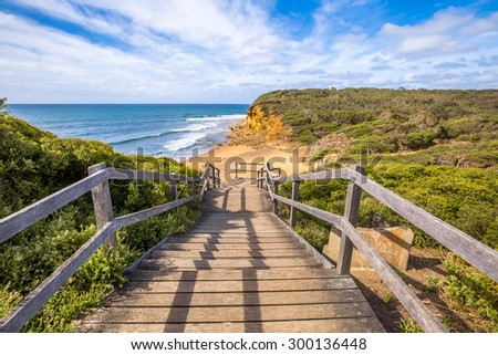 Walkway of the legendary Bells Beach - the beach of the cult film Point Break, near Torquay, gateway to the Surf Coast of Victoria, Australia, where he began the famous  Great Ocean Road - stock photo