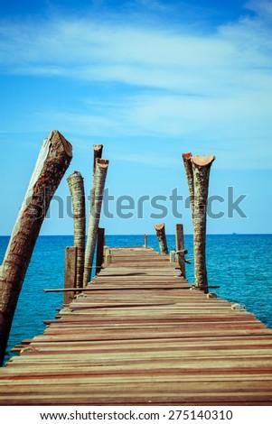 Walkway .  Pier over Waters. Wooden pontoon - stock photo