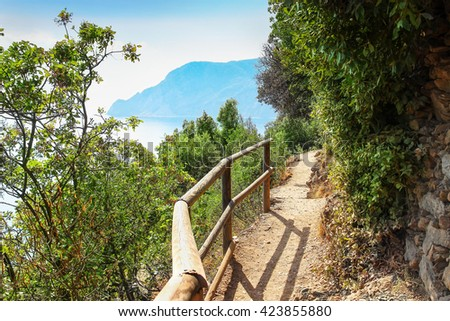 Walkway through the forest on the mountains in Cinque Terre national park, Italy. - stock photo