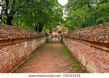Walkway to church at ayutthaya historical park - stock photo