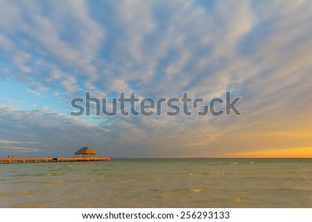 Walkway to sunset on Holbox Island, Mexico, romantic setting for Caribbean vavation