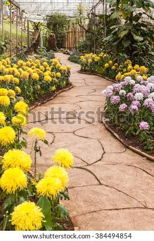 walkway winding through a tranquil garden. - stock photo