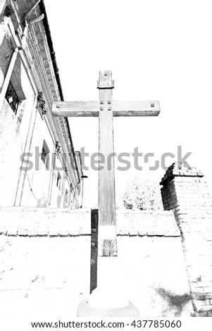 wall abstract     cross in     italy europe and the sky background - stock photo