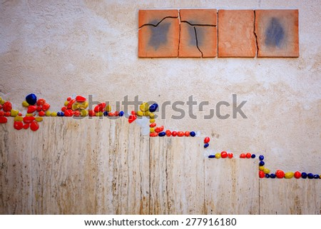 Wall abstract, tiles, stones, color good for background - stock photo