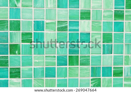 wall and floor mosaic tiles in green turquoise blue - stock photo
