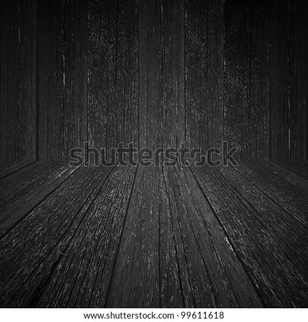 wall and floor wood background - stock photo