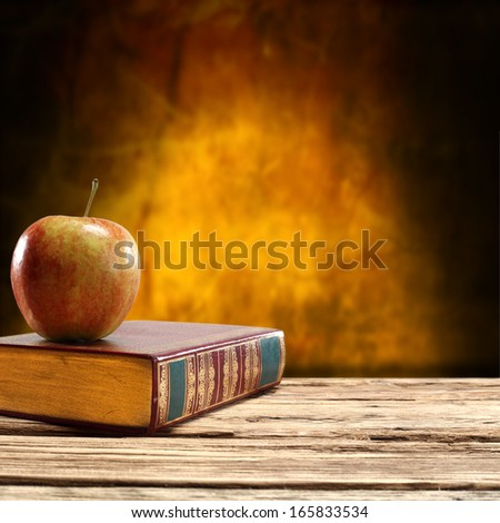 wall and old book  - stock photo