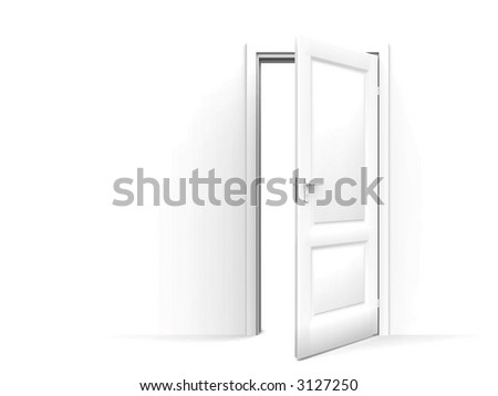 wall and opened door on a white background - stock photo