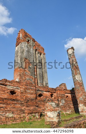 wall and pillar in temple, Ayutthaya, central of Thailand, World Heritage,blue sky, blue sky cloud,  - stock photo