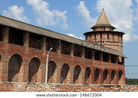 Wall and tower of Kolomna Kremlin in Russia - stock photo