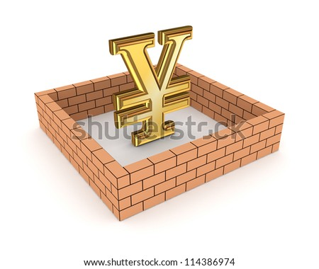 Wall around golden yen symbol.Isolated on white background.3d rendered. - stock photo