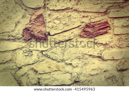 Wall background or texture.. Old stone and brick texture.